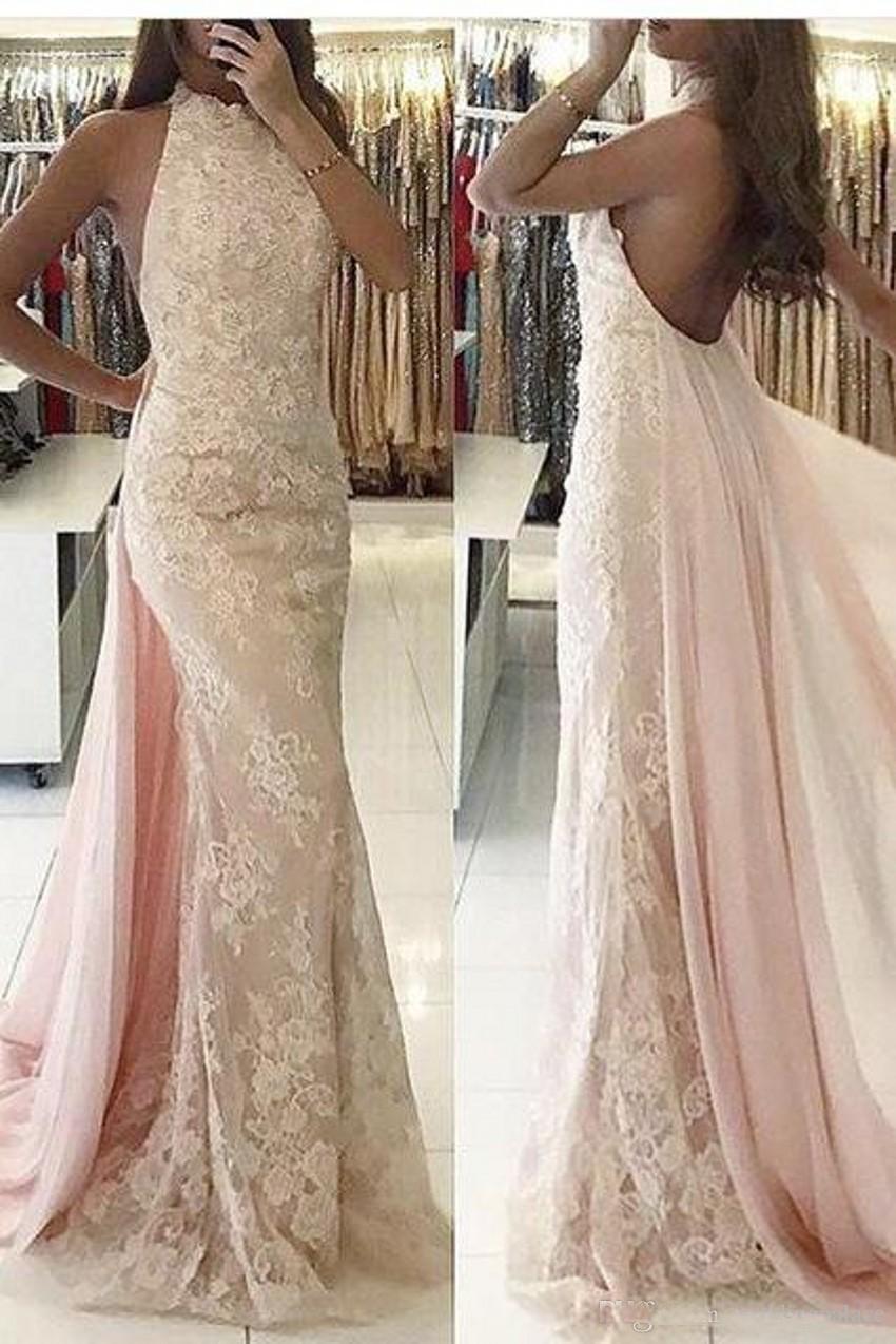 2019 dernières robes de soirée sirène col haut dentelle dos nu robes de bal parole longueur robes de soirée
