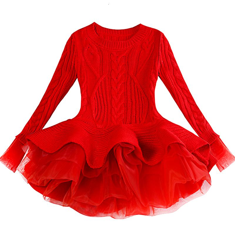 Дети Толстые Теплый платье девушки Рождество свадьба платья Вязаные шифоновые Зимние Kid Одежда для девочек Детская одежда платье девушки V191112