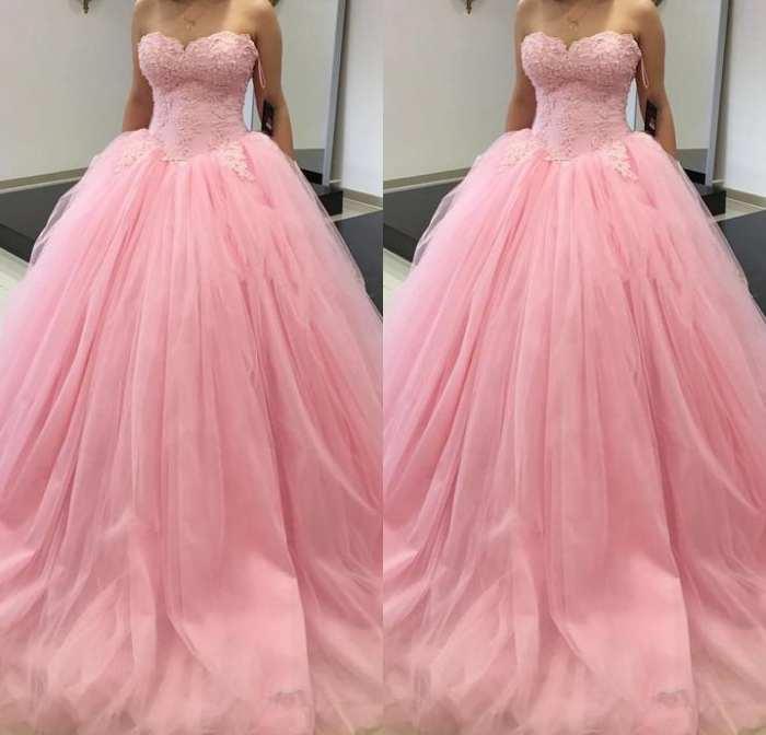 판매 볼 가운 성인식 드레스 핑크 달콤한 16 파티 투투 스커트 연인 코르셋 프릴 플러스 사이즈 여자 데뷔 댄스 파티 드레스