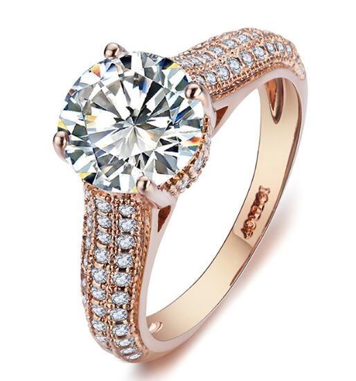 R036 elegante anel de cristal rosa 18K banhado a ouro Feito com genuínos cristais austríacos completa Tamanhos Atacado