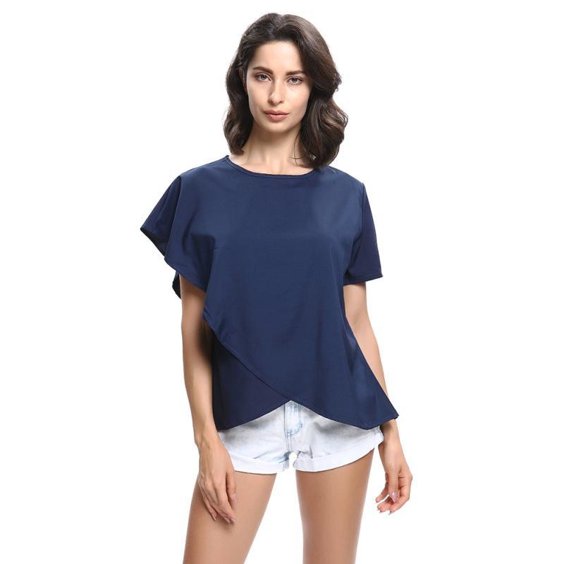EFINNY лето Женщины оборки Блуза Свободных рубашки O-образный вырез шифон блузка с коротким рукавом Женских Блузки Топы