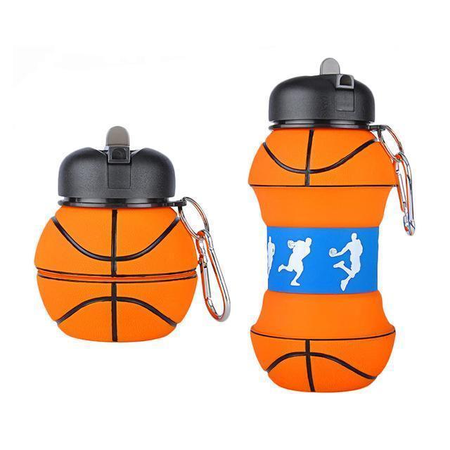 Garrafa novidade basquete aquático Sports com palha de Eco-friendly de plástico à prova de fugas dobrável Beber portátil Copos 550 ML