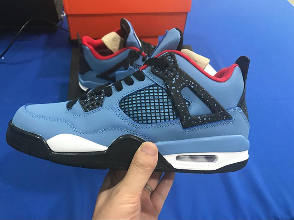 Travis Best X 4s Cactus Jack Men Basketball Shoes University Houston Blue Black For Men Trainers Sports Shoe Sneakers Size 7-13 With Box