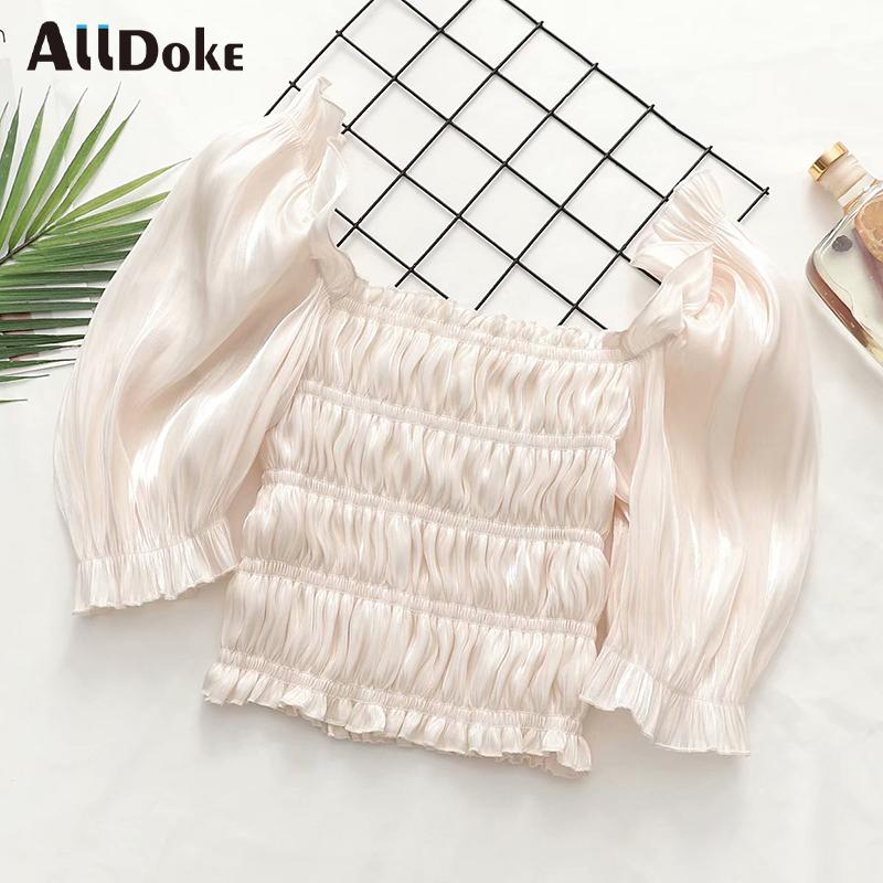 Women's Blouses & Shirts ALLDOKE Summer Elegant Ruffles Blouse Women Square Collar Puff Sleeve Crop Tops Shirt Femme Sexy Party Cropped Blus