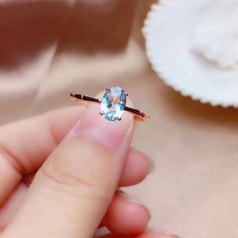 Natural aquamarine ring, 925 silver, simple style, 1 carat gems, clean quality, cheap price Y200321
