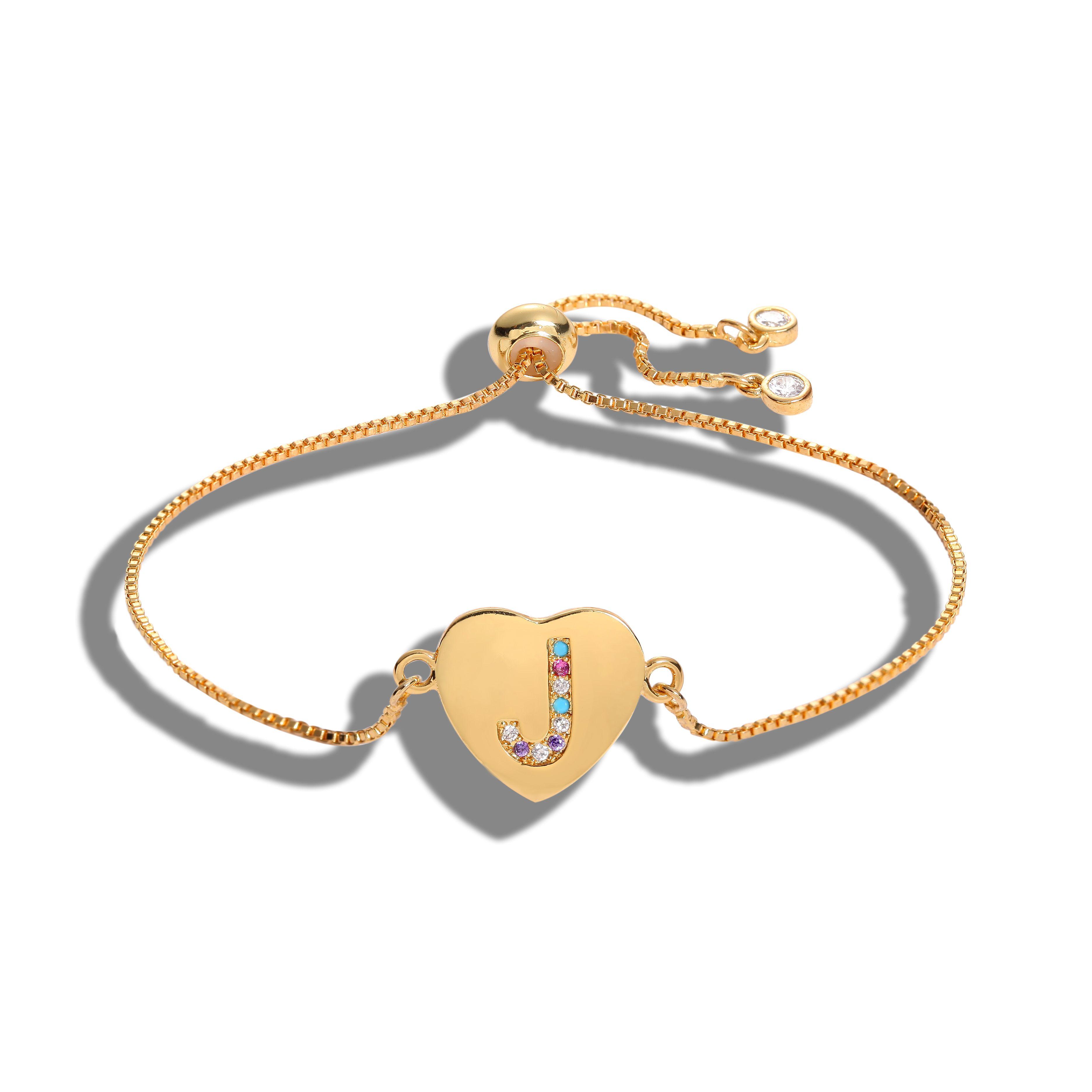 Cubic Zirconia 26 Alphabet Charme Carta Pulseira Femme cobre A-Z Pulseiras Nome da cadeia de jóias mulheres ajustável