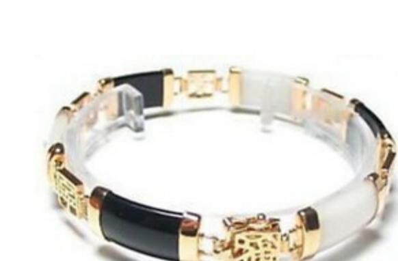 bracciale Exquisite Black White Jade Bracelet Bracciale in oro giallo 18 carati, 7,5 pollici