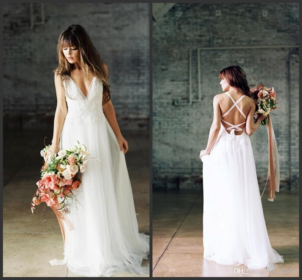 2020 New boho wedding dress chiffon lace with spaghetti straps cross back beach wedding dresses Vestido De Noiva 593