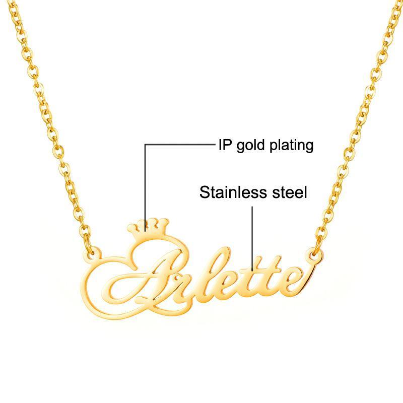 Collar conocido de encargo personalizada nombre personalizado personalizado collar de la corona de oro collares para las mujeres dama de regalo