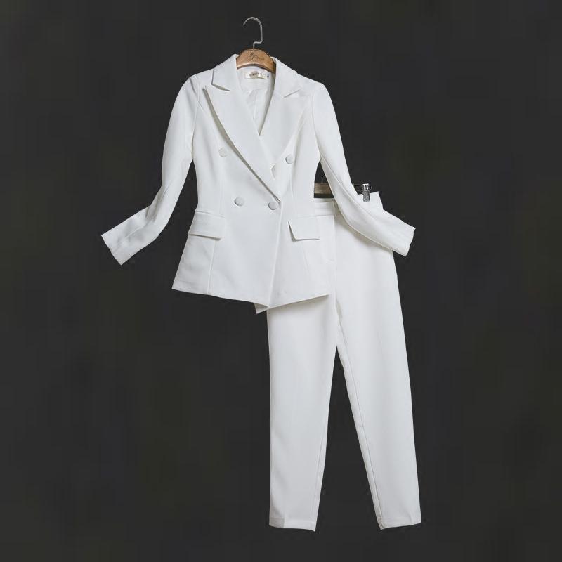 Las mujeres blancas adelgazan los trajes de pantalón traje de mujer vestido de solapa muesca solapa oficina de negocios esmoquin chaqueta + pantalones traje de las señoras