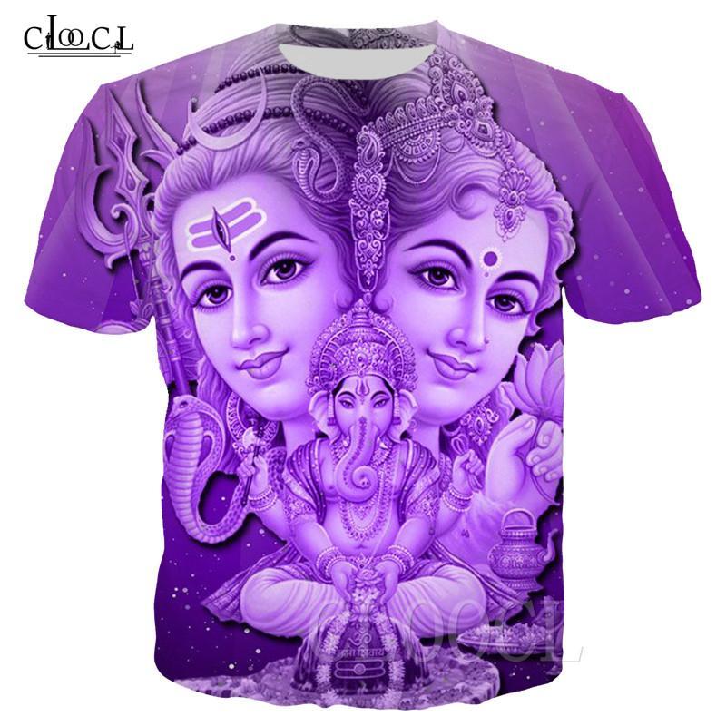 2020 New Style Hinduísmo Deus Ganesha T-shirt Mulheres Homens 3D Imprimir Casais Índia Lord Shiva manga curta Roupa Moda Tops Drop Shipping