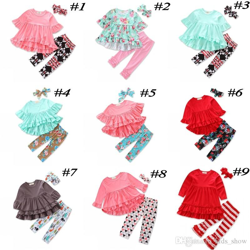 Girls Christmas Clothing Sets Ruffled T-shirts Tops + Legging Pants + Headband 3Pcs Set Fashion Kids Outfit Boutique Clothes Suit