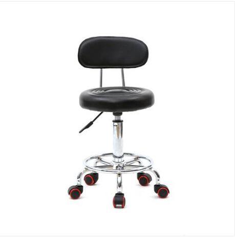 Art und Weise Freies Verschiffen Whole HEISSE Verkäufe runde Form Adjustable Salon Hocker mit Rücken und Line Black