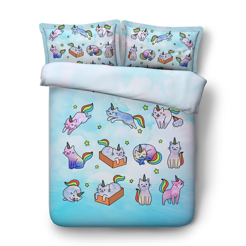 3D Stella Bedding Unicorn Cat Duvet Cover Consolatore copertura del cuscino Shams Cat Unicorn Bed Arcobaleno Copripiumini Cat 150x200cm