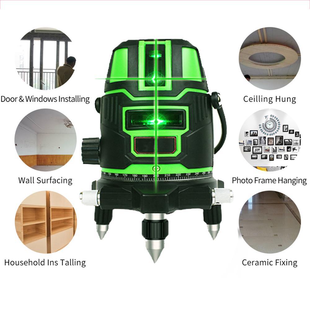 Livelli ottici Strumentazione Laser 2 laser linee verdi 1 punti 360 gradi modalità esterna 532nm rotante - ricevitore e tilt SLASH disponibili