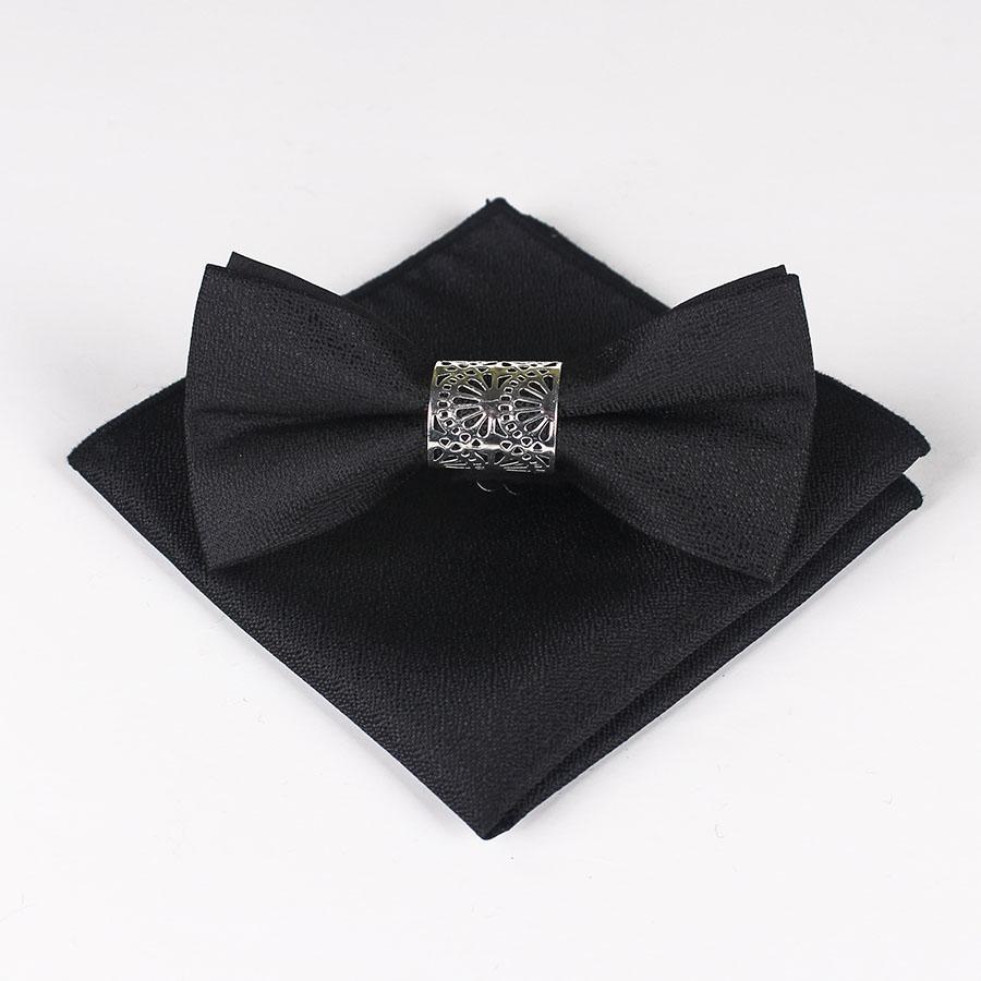 Della novità di modo seta business solido Bowtie dell'annata degli uomini lega Bianco Nero Blu matrimonio Papillon Pochette fazzoletto Set