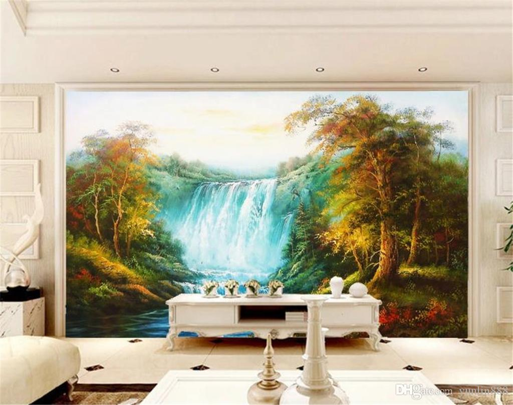 Great Falls Woods Beautiful Italian European-style hand-painted landscape background wall painting 3d wallpaper
