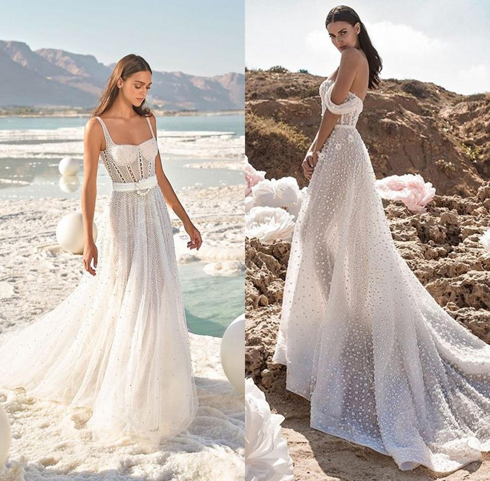 2020 Luxury Beach Mermaid Wedding Dresses White Bridal Dress Lace Court Train Zipper Back Strapless Bridal Gowns