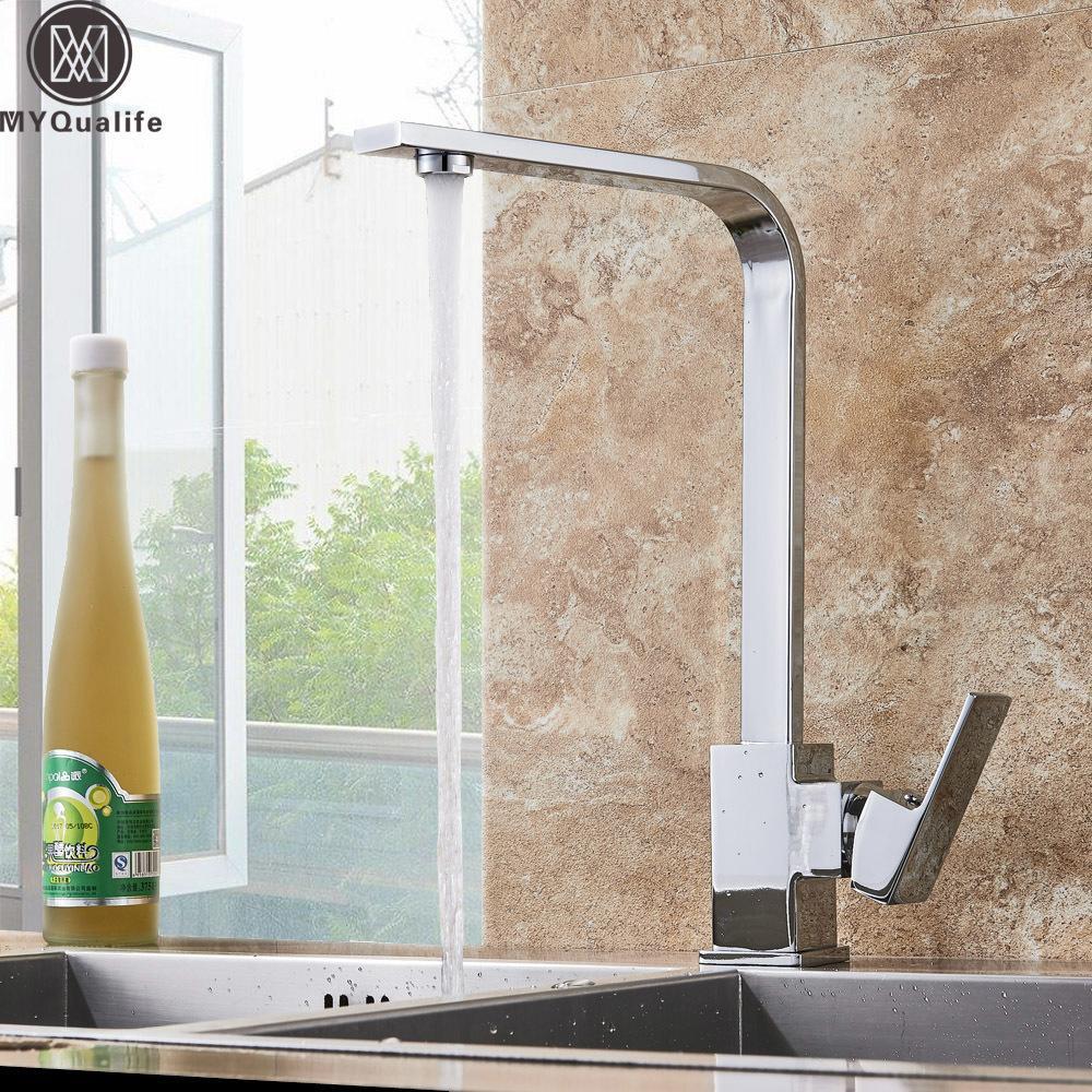 Chrome Robinet de cuisine pont évier de cuisine haut arche 360 degrés de rotation pivotant à froid à chaud Mélangeur eau du robinet T200424