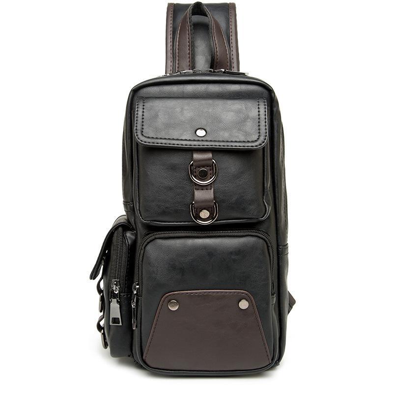 Männer imprägniern Patchwork Dickes Leder-Handtasche Männer Frauen Messenger Bag Lässig Umhängetaschen Männer Brusttasche männlich Schulter