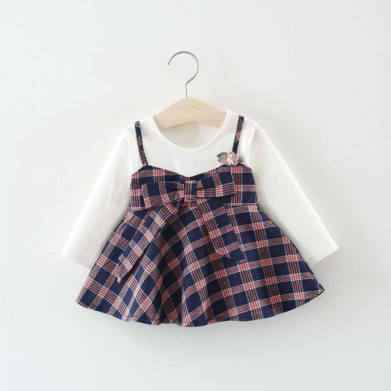 Bebê da criança Meninas Vestido Infantil Crianças Roupas Recém-nascidos de Manga Longa Vestido O Pescoço Um Ano de Idade Vestido 3 6 9 12 Meses J190614