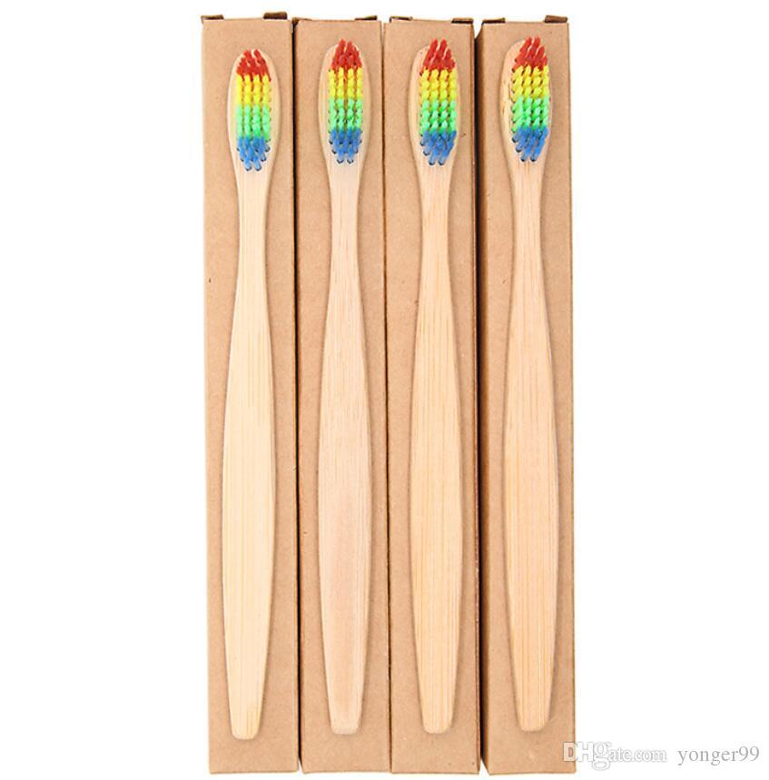Cabeça colorida Escova De Dentes De Bambu Atacado Ambiente De Madeira Do Arco Íris De Bambu Escova De Dentes Oral Care Cerdas Macias com caixa navio livre