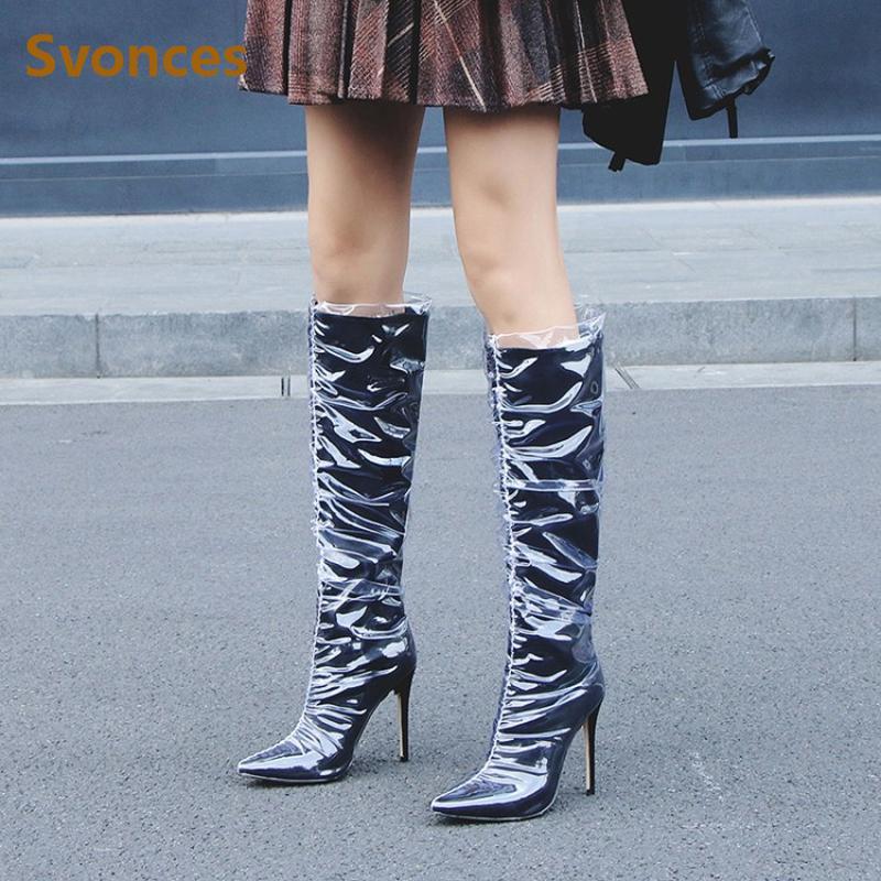 2018 Новая женщина сапоги на высоком каблуке Мода ПВХ Колено высокие сапоги Toe Остроконечные Long Lady Botas обувь Размер евро 43 Zapatos Mujer