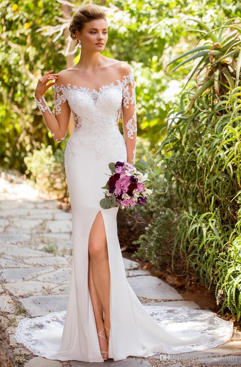Illusione Abiti Vestido de Novia Split Wedding manica lunga scollatura aperta indietro pizzo Abito da sposa Abiti da sposa Abiti da sposa