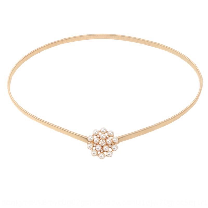 Эластичный тонкий ремень Pearl простого металл Golden Pearl цепь талии декоративное платье женщин одевает все-матчевые юбки талии свитера 7c5LA