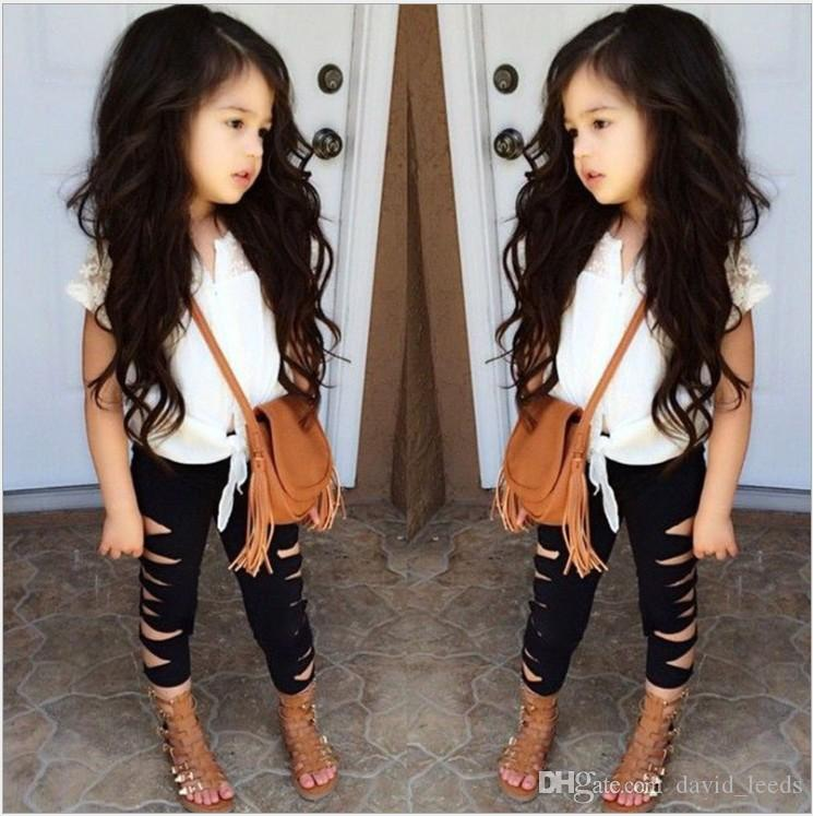 Summer Girls Clothing Sets Baby Girl Lace Sleeveless T-shirt Top+Shredded Leggings Pants 2pcs Set Kids Outfits Children Suit