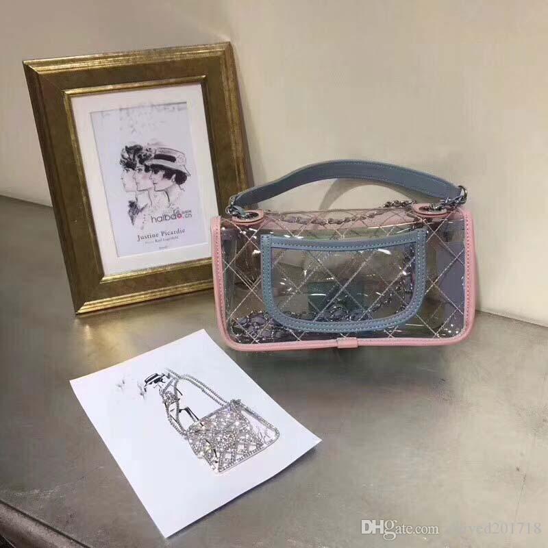 Новый европейский классический роскошный стиль дамы одно плечо сумка прозрачный ПВХ делая металлическую цепь Алмазная решетка украшения Париж супер модель