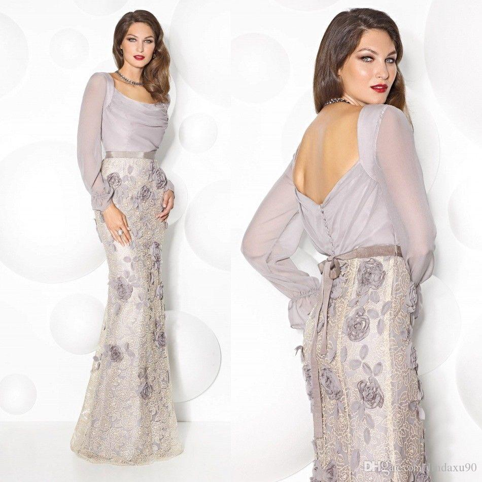 Mermaid Long Sleeve Mother Of The Bride Dresses Scoop Neck Floor Length Lace Dress Evening Wear Formal Gowns Wedding Guest Dress
