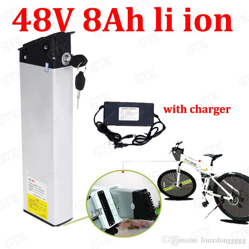 GTK 48v 8AH li ion battery Hide lithium battery 18650 BMS for 400W folding assist hybrid ebike bicycle scooter + 2A charger