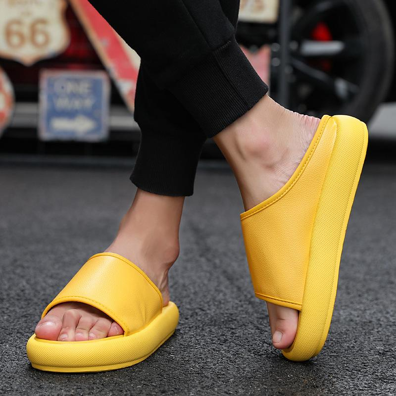 2019 new Korean version of summer sponge cake platform slippers men wear beach flat with lazy slippers size 39-44