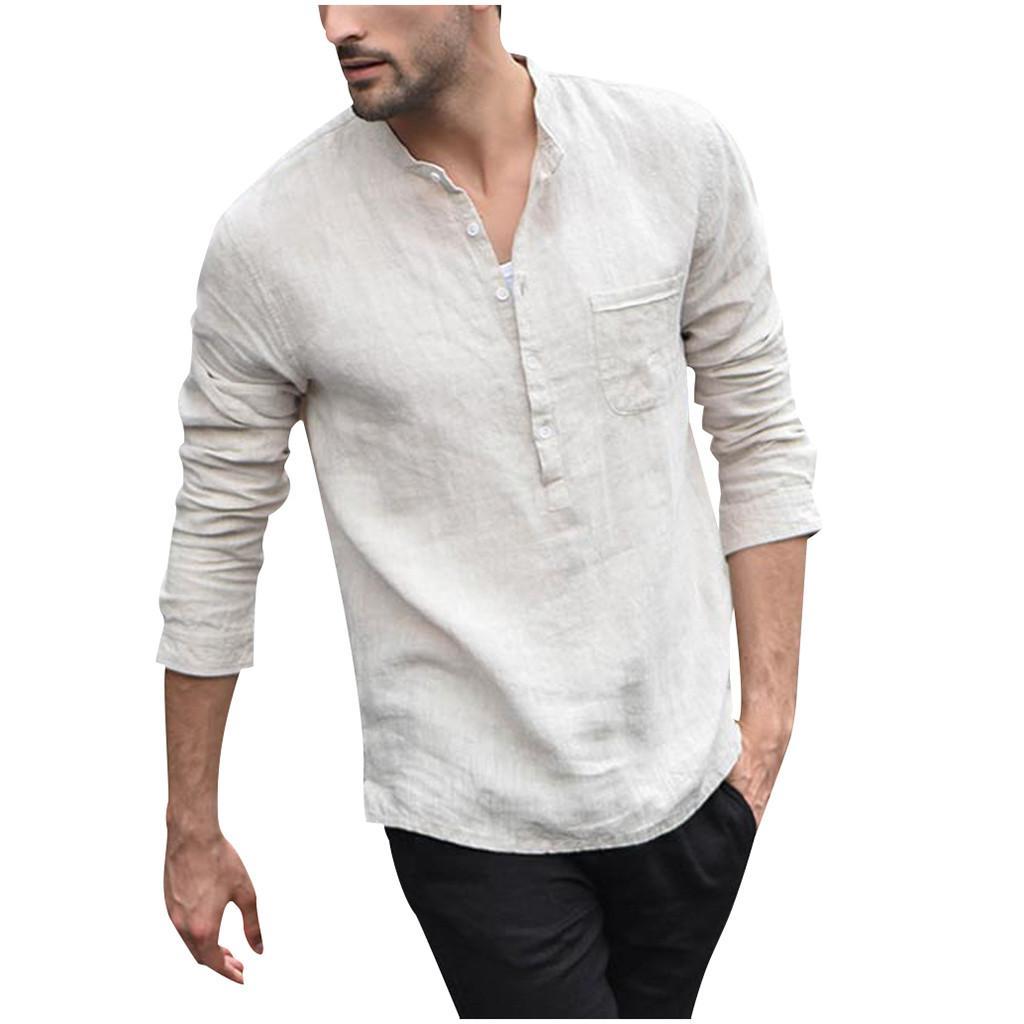 Nuovi uomini Camicia bianca vintage Bottone Camicie di lino Uomo Manica lunga Retro Gentleman Top Camicetta Moda Masculina Camicia Uomo #W