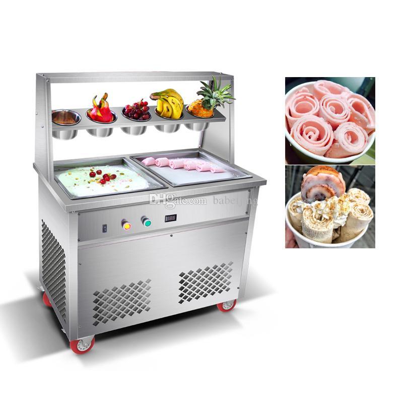 2020 fry ice cream macchina Thai ice cream Macchina doppia piazza pot fried ice cream roll macchina
