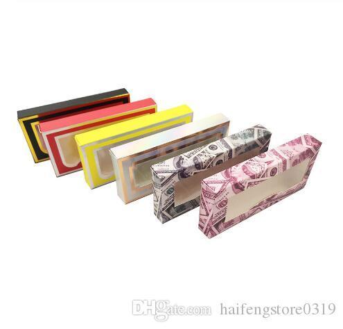 Falso pestañas falsas pestañas Caso de papel cubierta de la caja de cosméticos vaciar las pestañas del paquete Cajas
