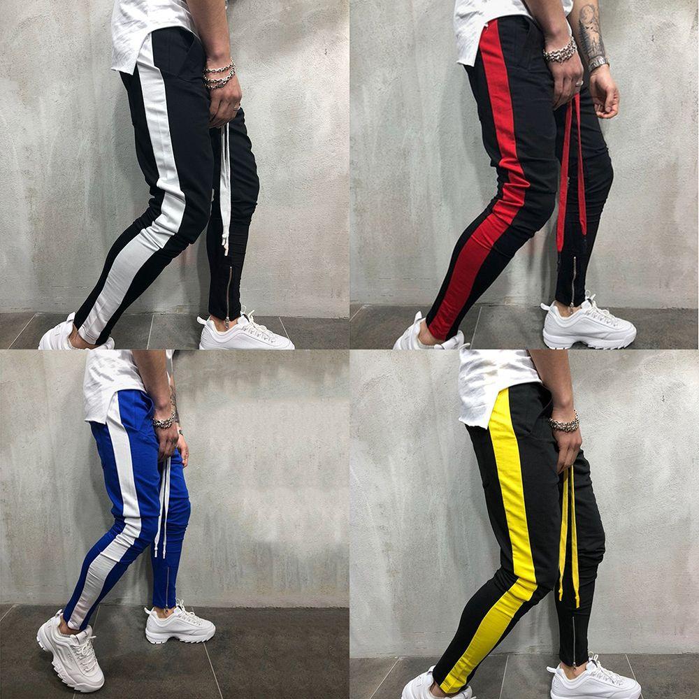 Pantalones para hombres Pantalones masculinos pantalones casuales Hombres pantalón entrenamiento de la gimnasia muscular algodón pantalón del chándal de Hip Hop