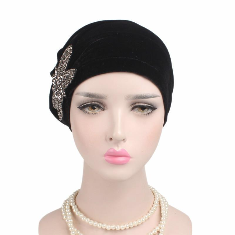 여성 무슬림 히잡 모자 패션 벨벳 구슬 꽃 비니 모자 여성 터번 모자 인도 캡 스카프 내부 터번 모자 도매