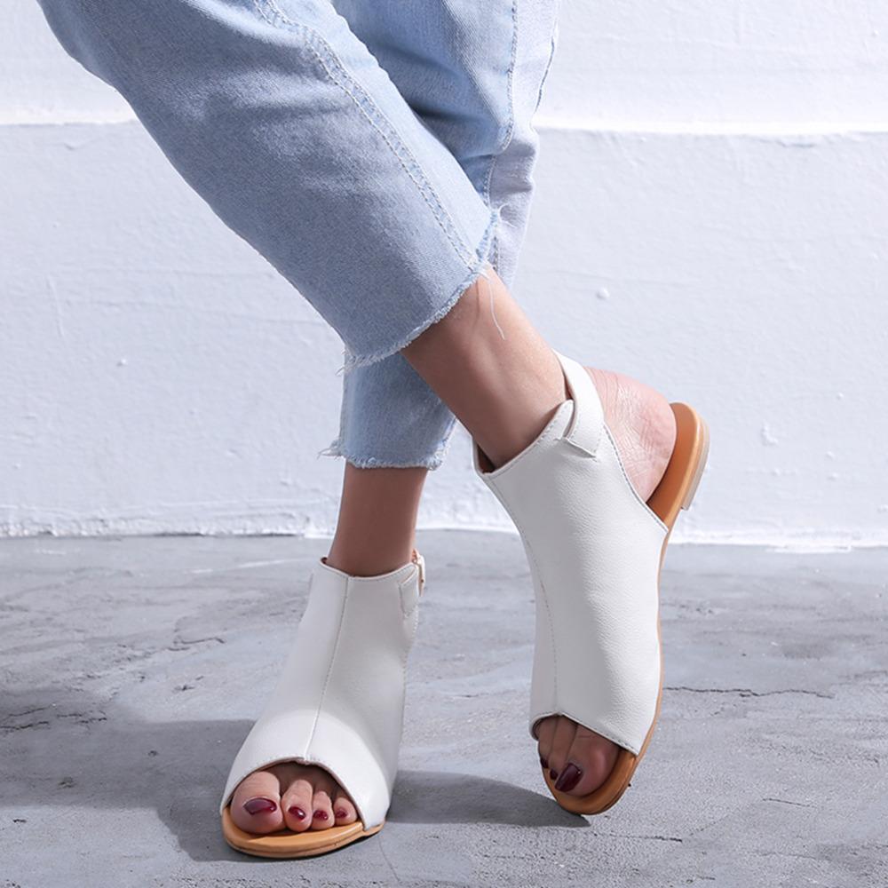 Schuhe Frauen 2020 Sommer-Sandelholz-Sapato Feminin Bequemer PU Einkaufs Flache Sohle Sandale für Frauen Schuhe Peep Toe Sandalen Mujer NEW CX200609