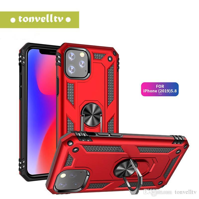 Case Porte d'aspiration magnétique pour iPhone 11 pro max cas Google Pixel 4 S10e S10 plus Note 10 Pro ShockProof Support Anneau 360 ° Rotation