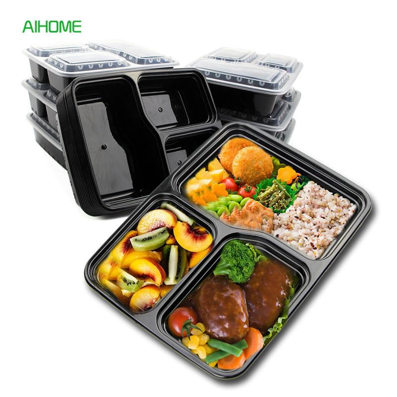 10 pcs Recipiente de Alimento Descartável Preto Descartável Almoço Bento Box Caixas de Embalagem De Lanche Microondas Seguro Plástico PP C18112301