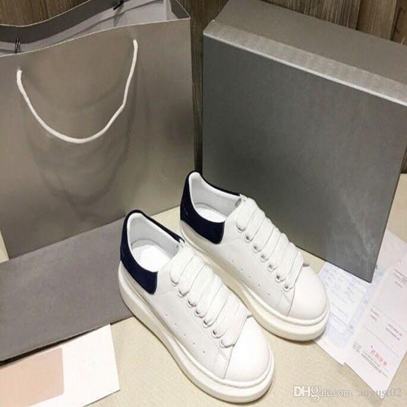 Nova temporada casuais sapatos da moda mulheres de couro sapatos masculinos Lace Up Platform Oversized Sole Sneakers Branco Preto calçados casuais E9