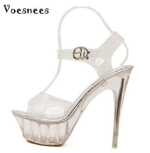 Сандалии женские Платформа модель T Stage Show Сексуальные туфли на высоком каблуке 14 см. Прозрачный Кристалл Водонепроницаемый Плюс Размер 35-43