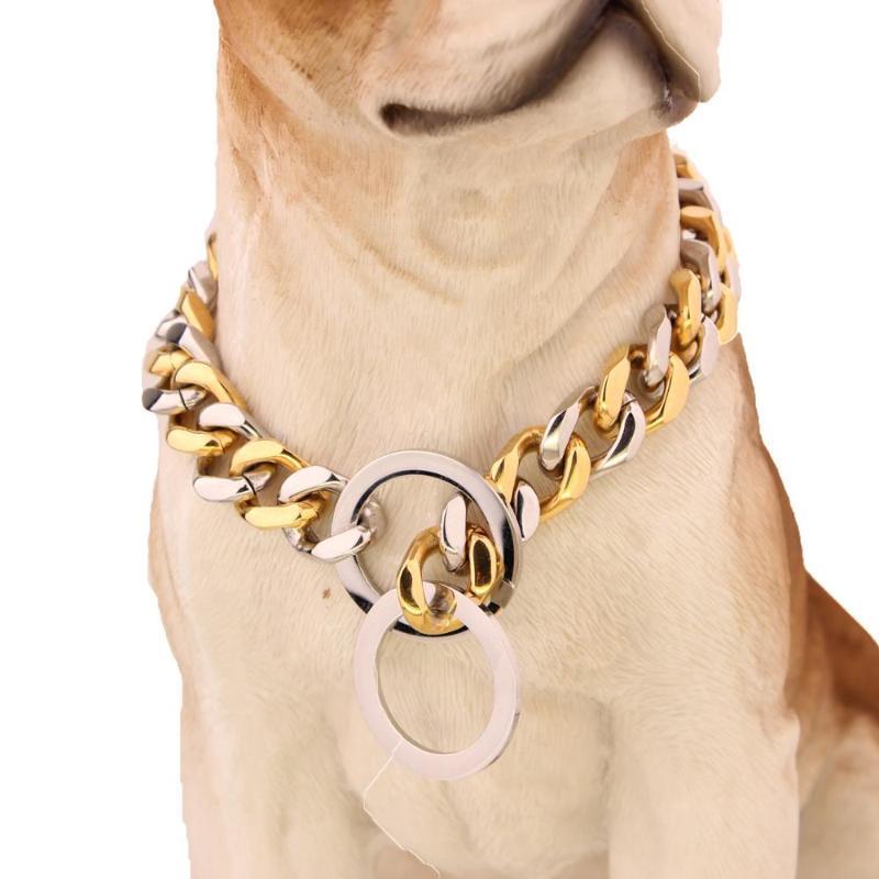 Heavy Duty Choke chaîne cubaine, argent ColorGold collier de chien, fort Liens en métal en acier inoxydable Slip collier de dressage de la chaîne