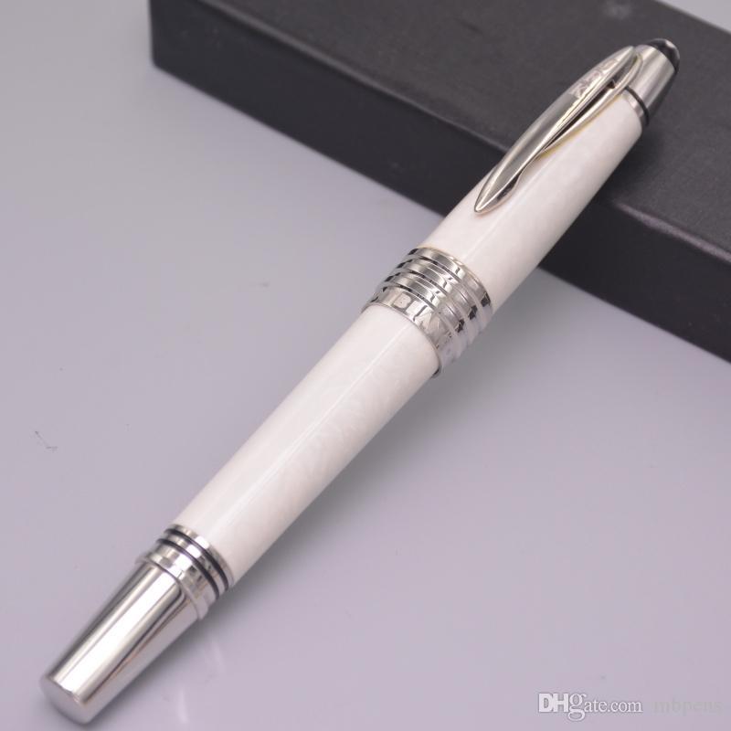 Hohe Qualität mb JFK Schwarz / Weiß Carbon Füllfederhalter Büromaterial Luxus Schreiben Füllfederhalter Geschenk