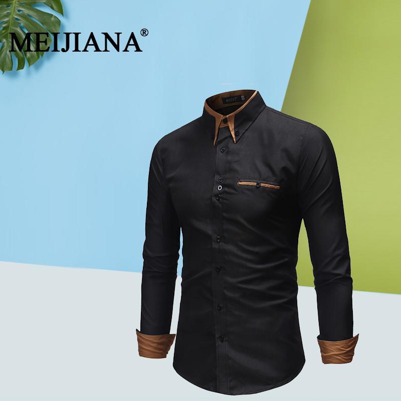 Джинсовая рубашка с длинным рукавом и джинсами Мужская повседневная рубашка с длинными рукавами с длинным рукавом MEIJIANA 2019