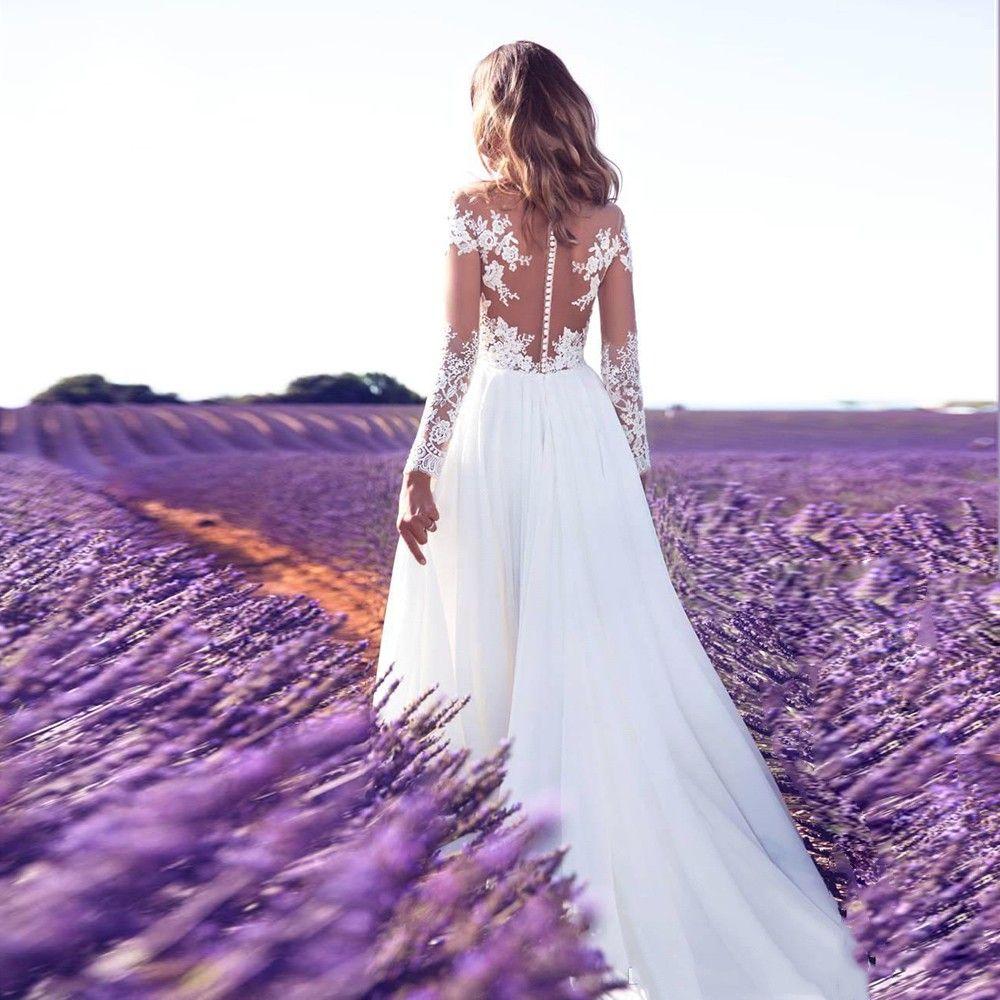 2020 новые свадебные платья пляж a-line свадебное платье материнства беременных свадебные платья с длинным рукавом белое кружево шифон Сплит Boho