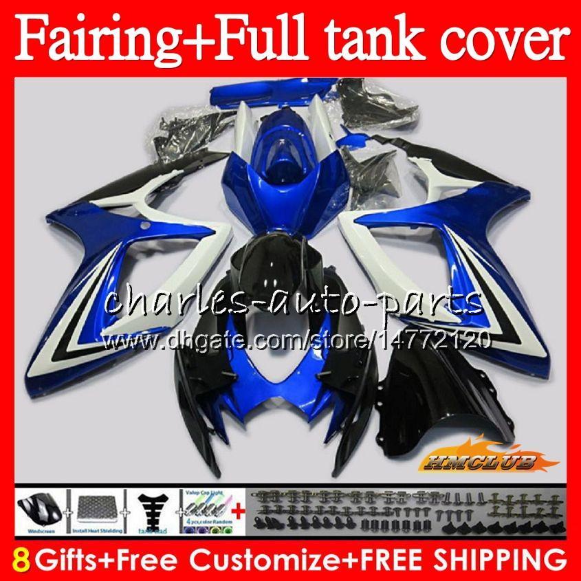 Cuerpo + tanque para SUZUKI GSXR750 K6 GSXR 600 750 CC 73NO.102 azul fábrica GSXR600 GSXR750 GSXR600 GSX R750 600CC 750CC 06 07 2006 2007 carenado