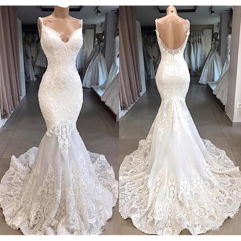 2020 Elegant Ivory Straps Deep V Neck Lace Mermaid Wedding Dresses Full Lace Tulle Summer Beach Wedding Bridal Gowns robes de mariée